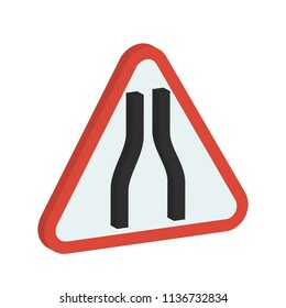 creative vector illustration isometric colorful transport Traffic Signs Narrow road ahead icon design