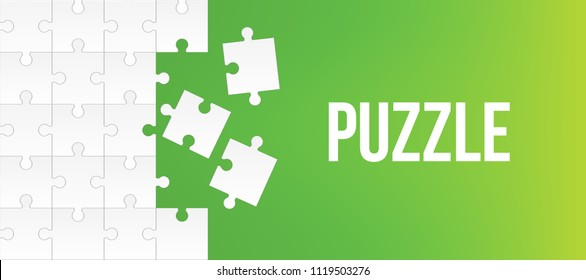 Creative vector illustration of jigsaw puzzle pieces background. Business concept art design blank mockup template. Abstract graphic seamless mosaic element