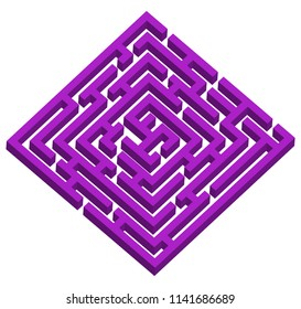Creative vector illustration of labyrinth, maze with entry and exit isolated on transparent background. Art design. Abstract concept paths to deadlock, entrance, exit, right way to go graphic element