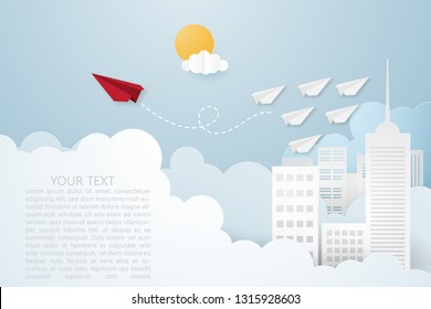 Creative vector illustration Leadership or thinking different concept. Red paper plane and white many paper plane flying on the sky over cityscape and clouds. Think difference and follow your focus.