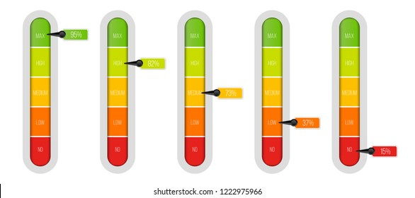 Creative vector illustration of level indicator meter with percentage units isolated on transparent background. Art design progress bar template. Abstract concept graphic slider infographic element