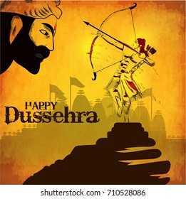 Creative vector illustration of Lord Rama with arrow that killed Ravana in Navratri festival of India poster with hindi text meaning Dussehra
