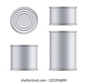Creative vector illustration metal tin can of tuna top and front view isolated on transparent background. Art design food aluminum, steel packaging template mock up. Abstract concept graphic element
