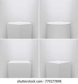 Creative vector illustration of museum pedestal, stage, 3d podium set isolated on transparent background. Art design blank template mockup. Abstract concept graphic element for product presentation.