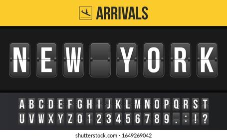 Creative vector illustration of New York airport departure destination, arrivals board, flip scoreboard background. Art design analog airport timetable arrivals, departure sign template concept.