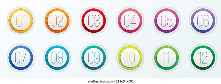 Creative vector illustration of number bullet points set 1 to 12 isolated on transparent background. Art design. Flat color gradient web icons template. Abstract concept graphic element