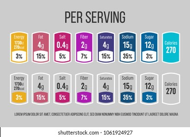 Creative vector illustration of nutrition facts information label for cereal box package isolated on transparent background. Design daily value ingredient amounts guideline calories, cholesterol, fat.