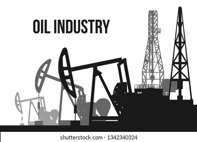 Creative vector illustration of oil pump industry silhouette, field pumpjack, rig drill over sunset isolated on background. Art design template. Abstract concept graphic equipment element