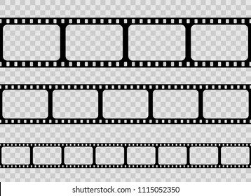 Creative vector illustration of old retro film strip frame set isolated on transparent background. Art design reel cinema filmstrip template. Abstract concept graphic element