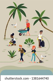 Creative vector illustration on Beach or coastal cleanup in trendy flat style. Cheerful volunteers removing litter and waste from ocean sand beach. Ocean ecosystem protection process