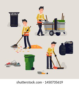 Creative vector illustration on city street cleaner at work in trendy flat style. Cheerful cleaning service professional removing litter and waste from street surface
