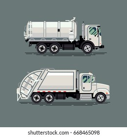Creative vector illustration on solid and liquid waste removal vehicles. Garbage and sewage trucks in flat design
