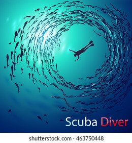 Creative vector illustration on the theme of diving. Image diver under water is surrounded shoals of fish (bottom view). With inscription: Scuba Diver