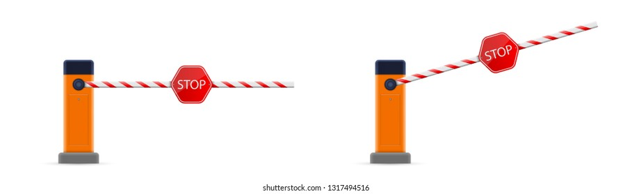 Creative vector illustration of open, closed parking car barrier gate set with stop sign isolated on transparent background. Art design street road stop border. Abstract concept graphic element