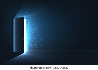 Creative vector illustration of open door light in dark room. Art design glowing exit open door template. Abstract concept finding of freedom, hope, possibilities, shining light, daring choice.