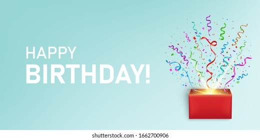 Creative vector illustration of open gift box, confetti, ribbons, happy birthday concept background. Confetti, ribbons, bow, srewed explosion from open box. Christmas, happy birthday party template.