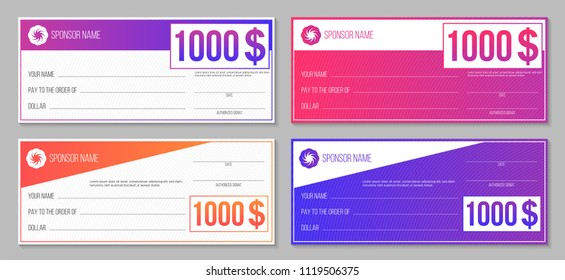 Creative vector illustration of payment event winning check isolated on background. Art design empty blank mockup. Abstract concept graphic lottery element