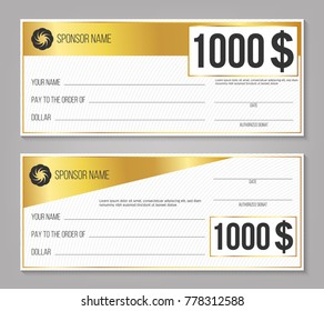 Creative vector illustration of payment event winning check isolated on background. Art design empty blank mockup. Abstract concept graphic lottery element.