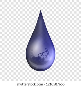 Creative vector illustration of petroleum drop, droplet of a crude gasoline or oil from pump industry, barrel isolated on transparent background. Art design template. Abstract concept graphic element