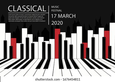 Creative vector illustration of piano keys and the city. - Piano concert or live music concert poster design.