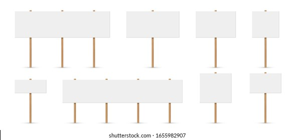 Creative vector illustration of picket sign, demonstration banners, public transparency, protest placard. Design blank boards with sticks, wooden holders template. Abstract concept sign picket element