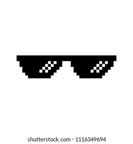 Creative vector illustration of pixel glasses of thug life meme isolated on transparent background. Ghetto lifestyle culture art design. Mock up template. Abstract concept graphic element