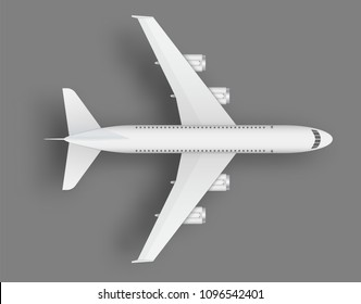 Creative vector illustration of plane isolated on colorful background. Top view airplane. Travel art design of summer vacation. Copy space for you presentation. Abstract concept graphic element