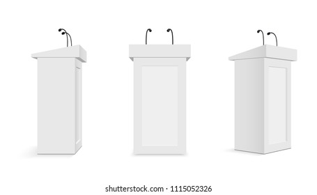 Creative vector illustration of podium tribune with microphones isolated on transparent background. Art design rostrum stands. Abstract concept graphic element for business presentation, conference