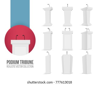Creative vector illustration of podium tribune with microphones isolated on transparent background. Art design rostrum stands. Abstract concept graphic element for business presentation, conference.