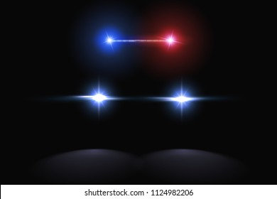 Creative vector illustration of police car silhouette headlights, blinking isolated on transparent background. Glowing headlamp. Red, blue siren lights. Art design. Abstract concept graphic element