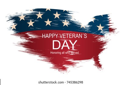 Creative vector illustration, poster or banner of happy veteran's day with USA map as flag background.