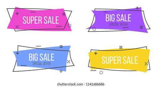 Creative vector illustration of promotion ribbon banner isolated on transparent background. Art design flat linear badge. Abstract concept scroll, price tag, sticker, sale poster graphic element