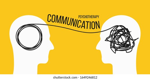 Creative vector illustration of psychotherapy communication on background. Art design psycho therapy concept with humans head dialogue silhouette. Abstract concept tangled brain, therapist, patient.