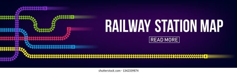 Creative vector illustration of railway station map, metro road infographic, train railroad route rail track, isolated on transparent background. Art design template. Abstract concept graphic element