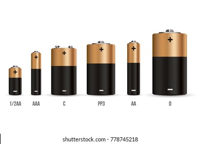Creative vector illustration of realistic alkaline battery set with diffrent size isolated on transparent background. Art design blank mockup template. Abstract concept graphic element.