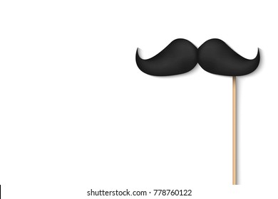 Creative vector illustration of realistic black mustaches on plastic stick isolated on transparent background. Retro vintage art design. Fashionable old facial hair. Abstract concept graphic element.