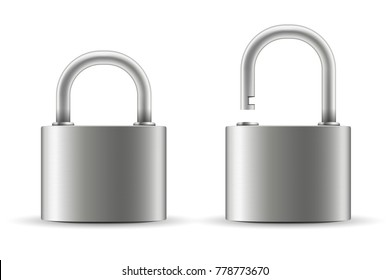 Creative vector illustration of realistic closed padlock for protection privacy isolated on transparent background. Art design metal steel lock. Closed and open. Abstract concept graphic element.