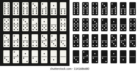 Creative vector illustration of realistic domino full set isolated on transparent background. Dominoes bones art design. Abstract concept 28 pieces for game graphic element