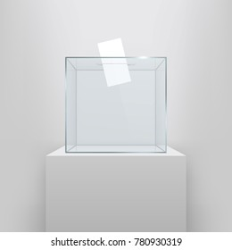 Creative vector illustration of realistic empty transparent ballot box with voting paper in hole isolated on background. Art design glass case is on museum pedestal, stage, 3d podium. Concept graphic.