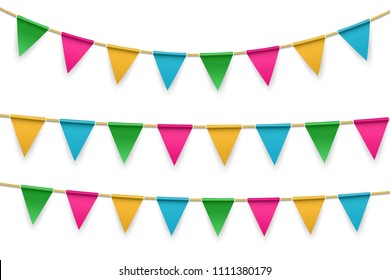 Creative vector illustration of realistic flag, buntings garland with shadow isolated on transparent background. Art design celebrate party invitation template. Abstract concept graphic element