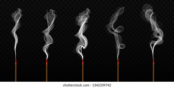 Creative vector illustration of realistic incense stick aroma with smoke isolated on transparent background. Art design incense burning. Abstract concept Chinese New Year graphic element