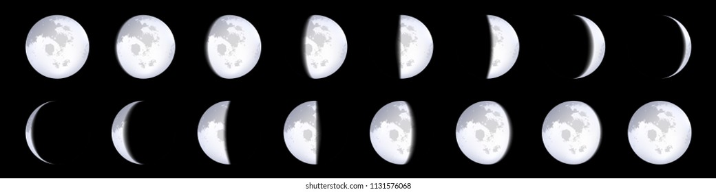 Creative vector illustration of realistic moon phases schemes isolated on transparent background. Art design lunar calendar. Different stages of moonlight activity. Abstract concept graphic element.