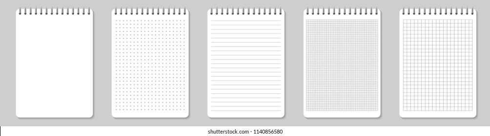 Creative vector illustration of realistic notebooks lined and dots paper page isolated on transparent background. Art design clean spiral notepad blank mockup template. Abstract graphic element