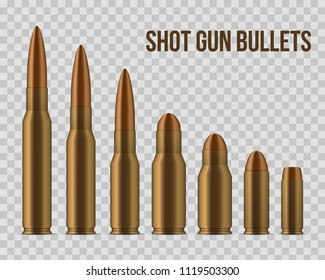 Creative vector illustration of realistic shot gun bullets, holes isolated on transparent background. Art design different gunshot and caliber of weapon. Abstract concept graphic gun ammo element