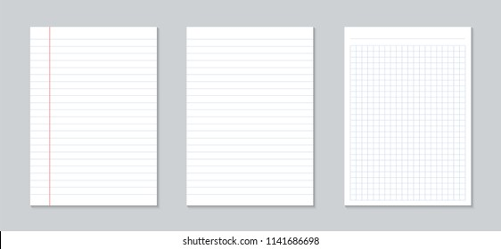 Creative vector illustration of realistic square, lined paper blank sheets set isolated on transparent background. Art design lines, grid page notebook with margin. Abstract concept graphic element