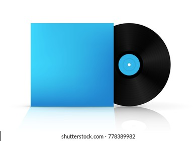 Creative vector illustration of realistic vinyl record disk in paper case box isolated on background. Front view. Art design blank LP music cover mockup template. Concept graphic disco party element.