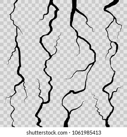 Creative vector illustration of realistic wall cracks set isolated on transparent background. Art design fracture rift on surface ground. Abstract concept graphic cleft broken collapse element.