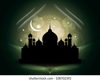 Creative vector illustration of religious eid background with mosque.