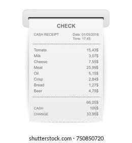 Creative vector illustration of sales printed receipt. Art design bill atm check. Abstract concept graphic financial element. Isolated on background mockup document list.