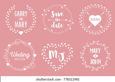 Creative vector illustration of save the date wedding witn name set isolated on background. Art design floral logo templates. Abstract concept graphic invitation card, flyer, banner element.